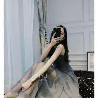🚚 大尺碼兩件套加棉網紗氣質連衣裙