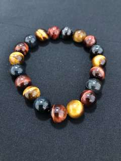 10.2mm Tigereye stone bracelet with cert. 虎眼石手链+鉴定证书