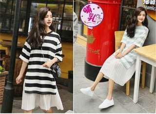 🚚 韓版寬鬆舒適條紋拼接哺乳洋裝H1804114