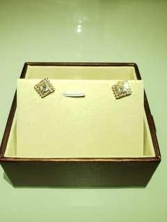 S925包玫瑰金高貴耳環人造鑽石