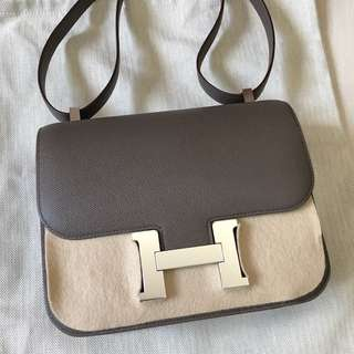 Hermes Constance 24cm 8F 石器灰銀釦 epsom皮c刻
