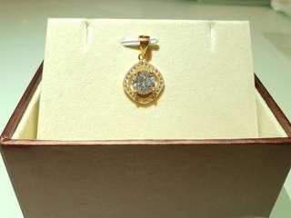 純銀鍍厚18k玫瑰金水鑽頸鏈