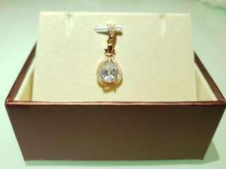 水滴型水鑽純銀鍍18k鉑金首飾頸鏈