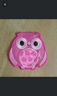 Iron on patch - Pink Owl