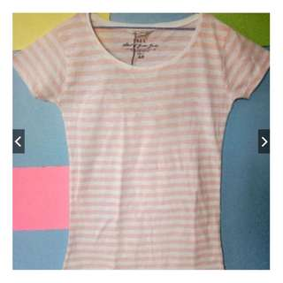H&M Pink Striped Casual T-Shirt