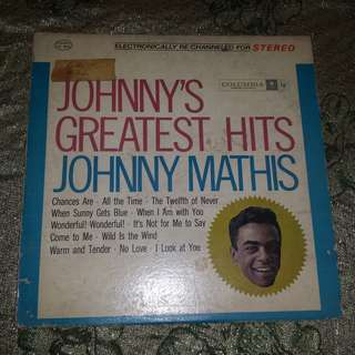 Johnny Mathis' Greatest Hits Vinyl Record