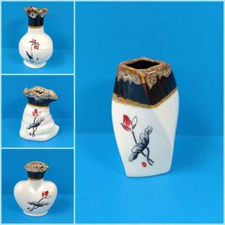 Ornamental Porcelain Miniature Vases With Assorted Designs