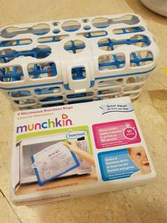 Munchkin - microwave sterilizer bags and dishwasher rack for baby items