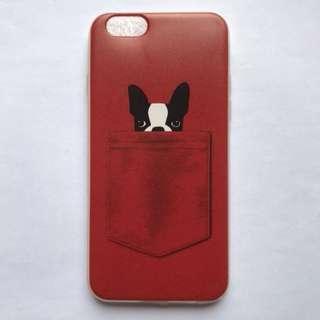 全新 包郵 iPhone6 case 紅色 狗仔 透明矽膠全包 手機殼