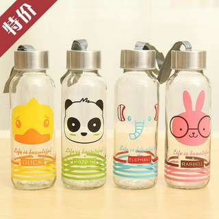 Creative Portable Sports Glass Water Bottles 300ml / Botol Minum - Transparent