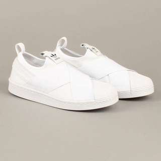 White Adidas Superstar Slip On