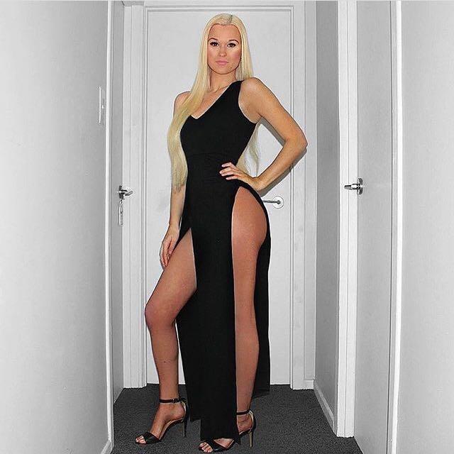Black High Split Evening Maxi Ball Dress