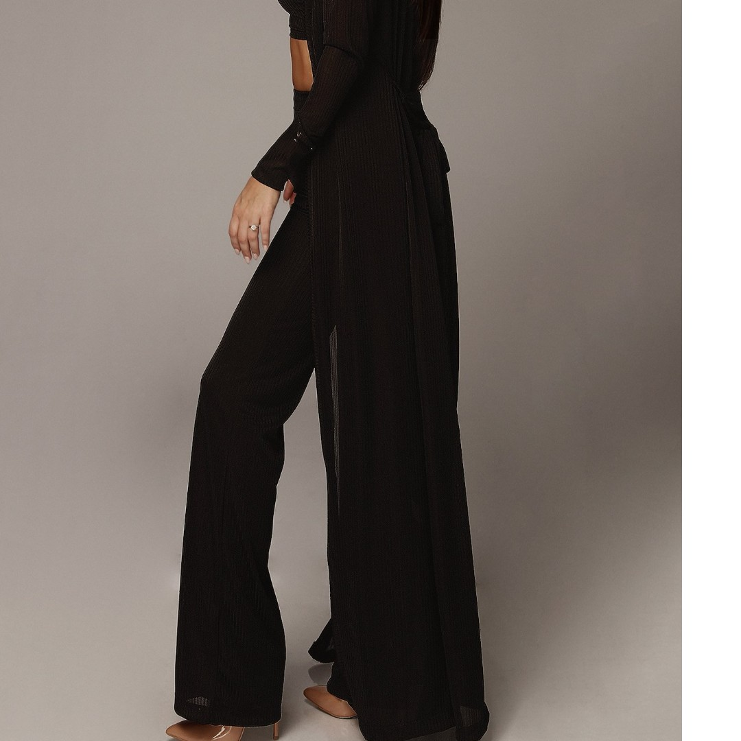 BLACK PROSECCO BELTED LONG DUSTER