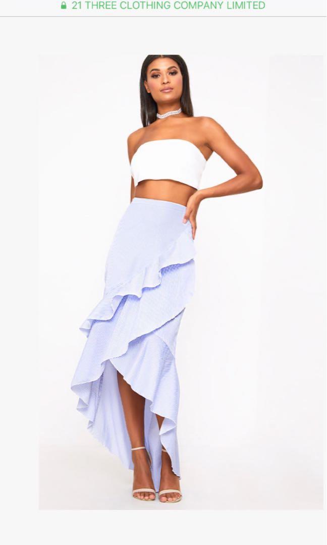 Blue Pinstripe Hi Lo Hem Ruffle Maxi Skirt-  Size 6