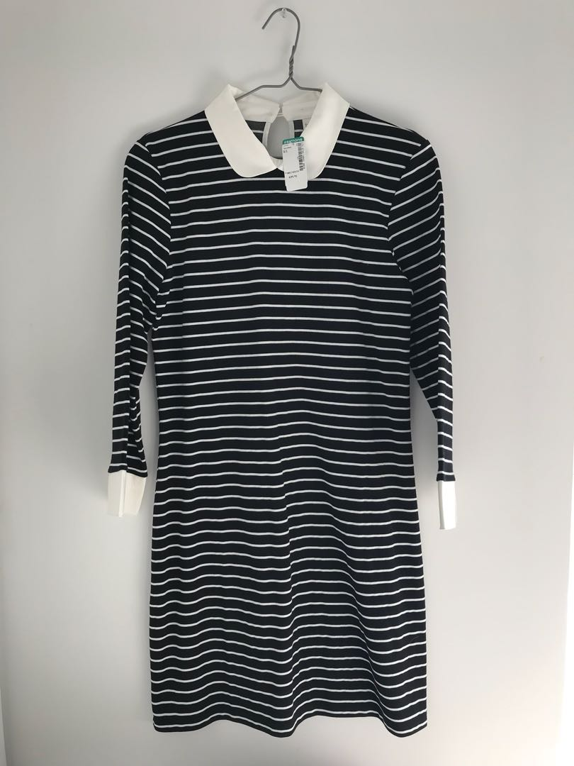 BNWT Simons striped collared dress - L