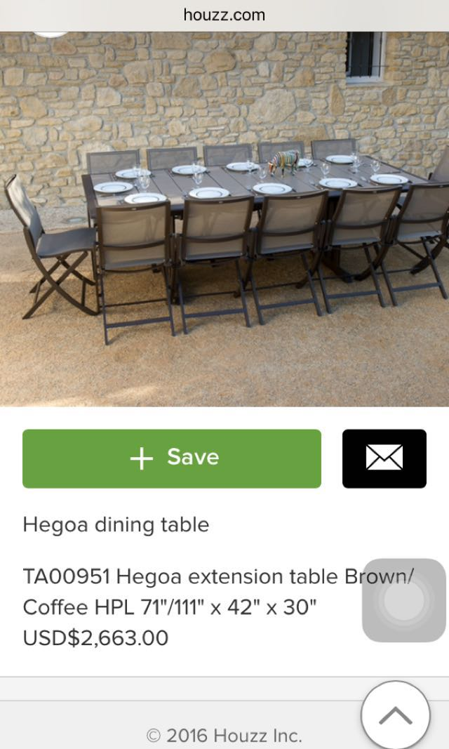 Brand New HEGOA table set with six LES JARDIN chair, Furniture ...