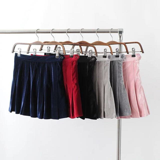 """Breeze"" velvet tennis skirts - 6 colours"