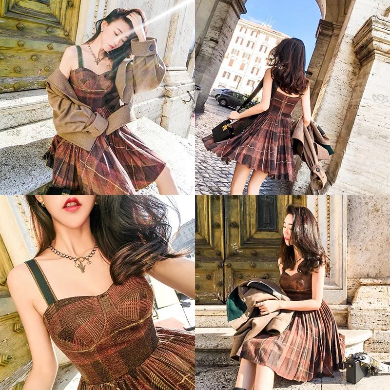 Brown checked dress