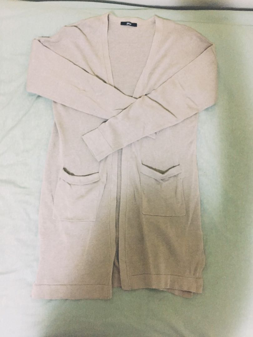 Cotton blend long cardigan