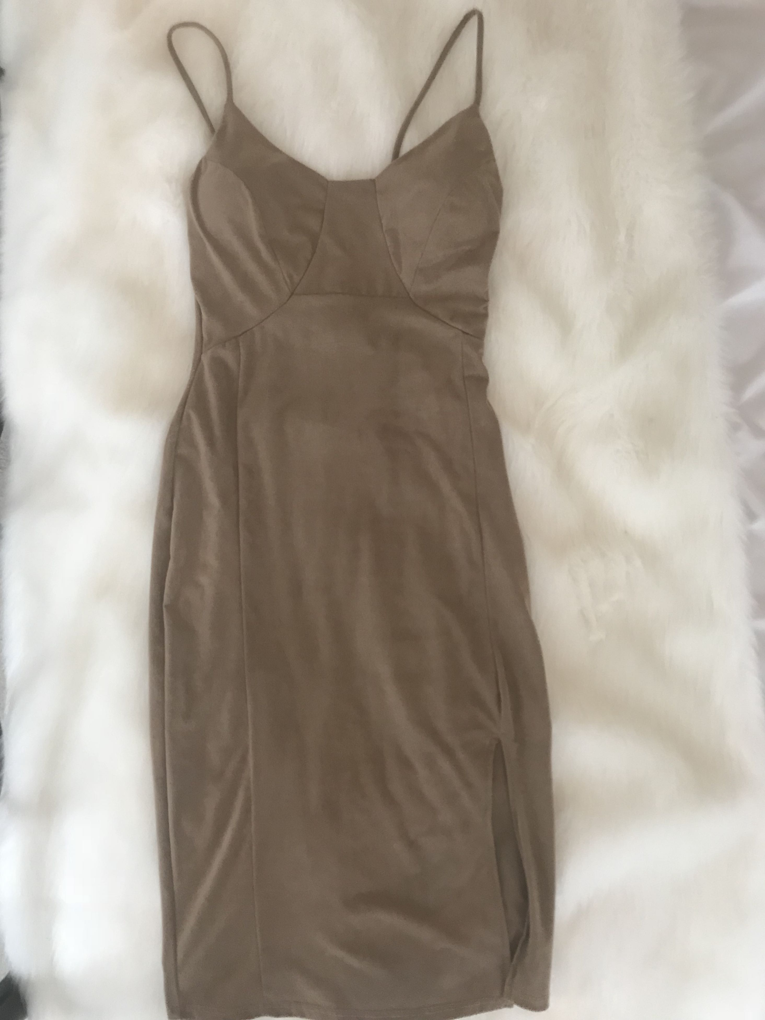 Faux Suede Fitted Midi Dress SIZE SMALL from M Botique