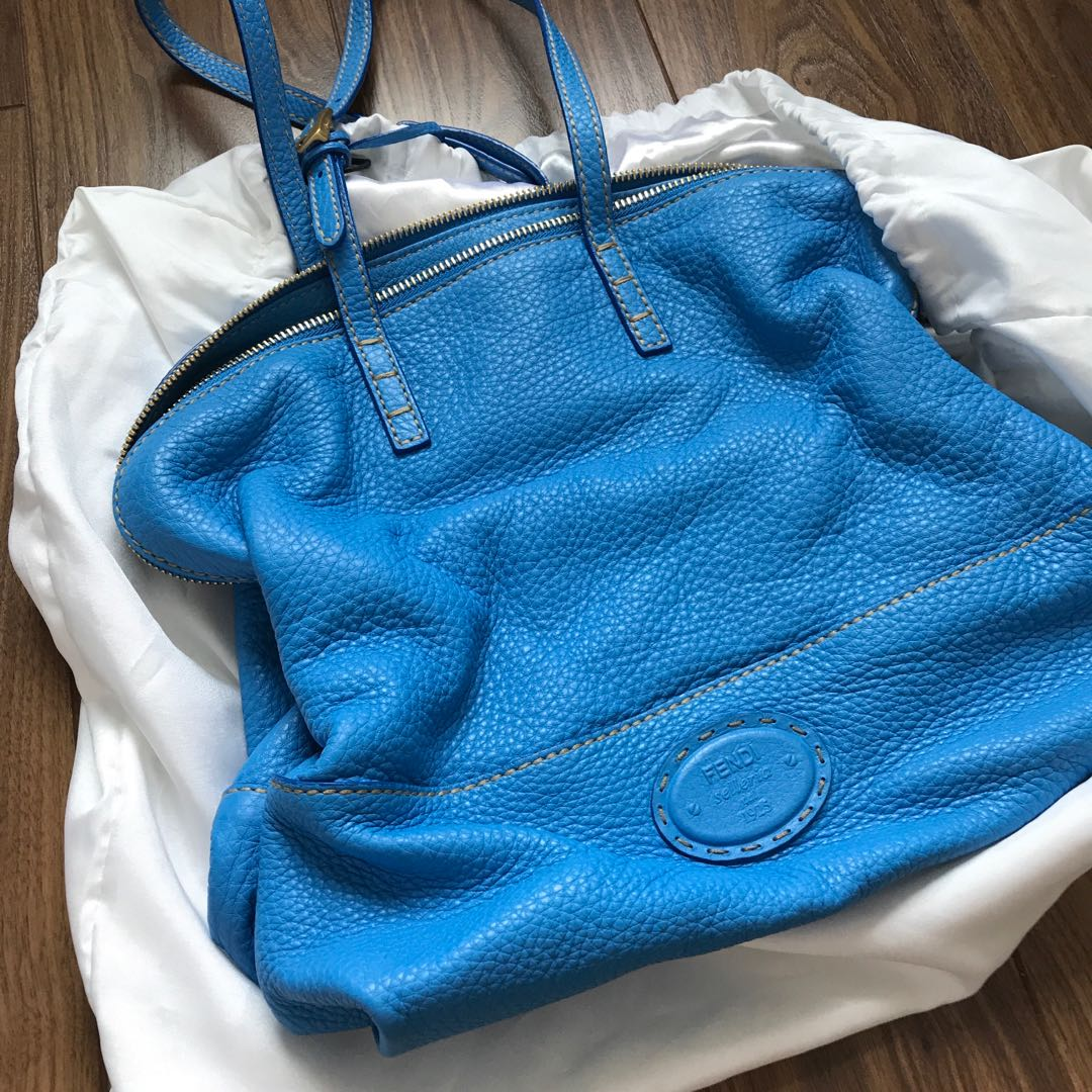 Fendi blue leather Selleria