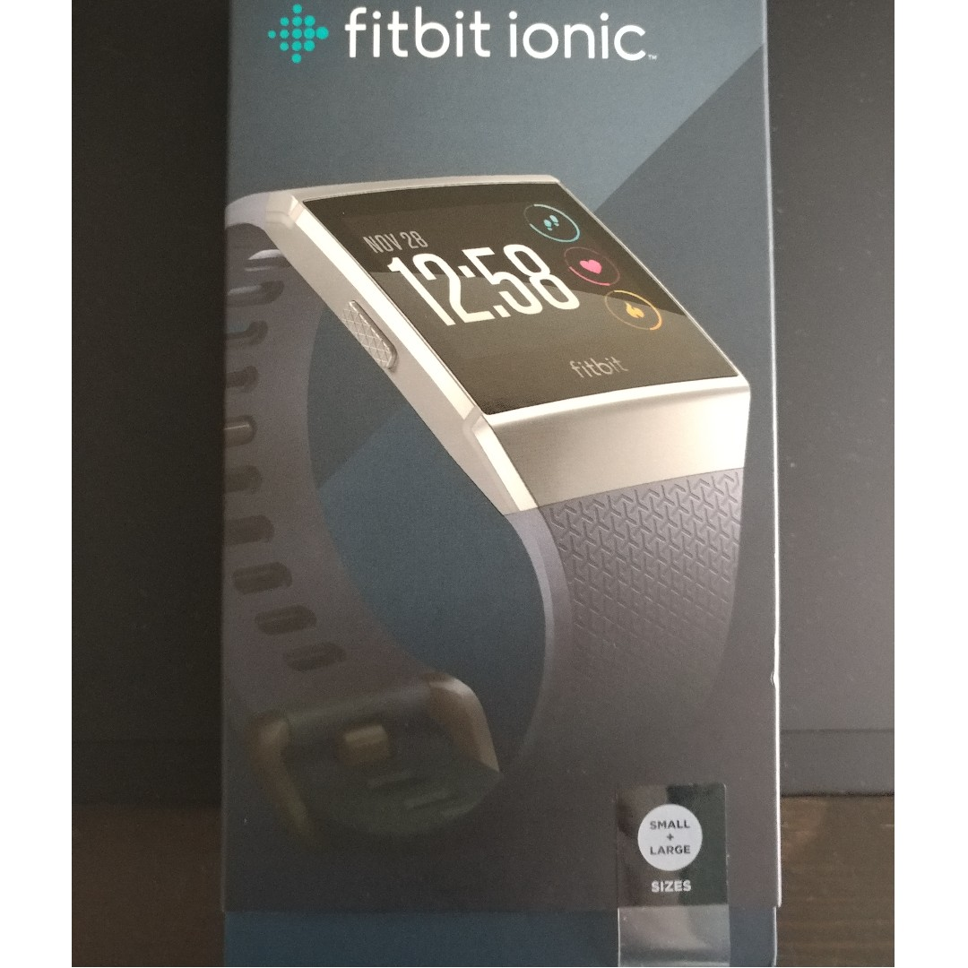 Fitbit Ionic Blue Grey Silver Bnib Sealed Box Charcoal Smoke Gray Electronics Others On Carousell