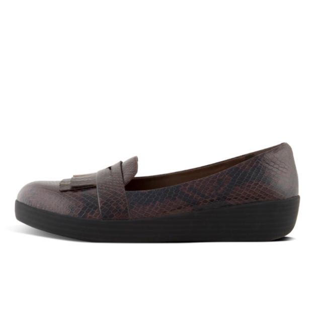 6f55c4458bf FitFlop FRINGEY SNEAKERLOAFER™ In Snake-Embossed Leather