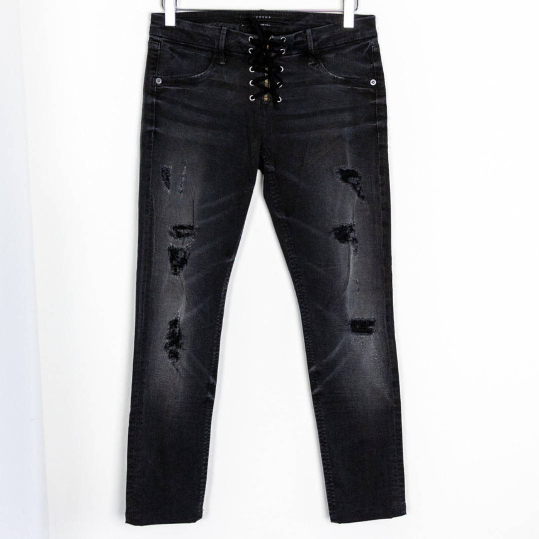 Hudson Women's Lace Up Front Distressed Black Skinny Slim crop Jeans Size 27