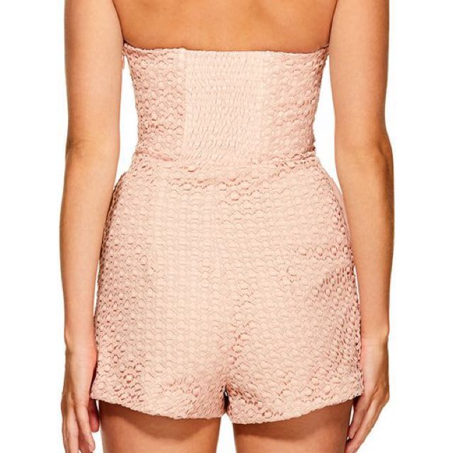 Kookai Lucia Lace Playsuit In Blush
