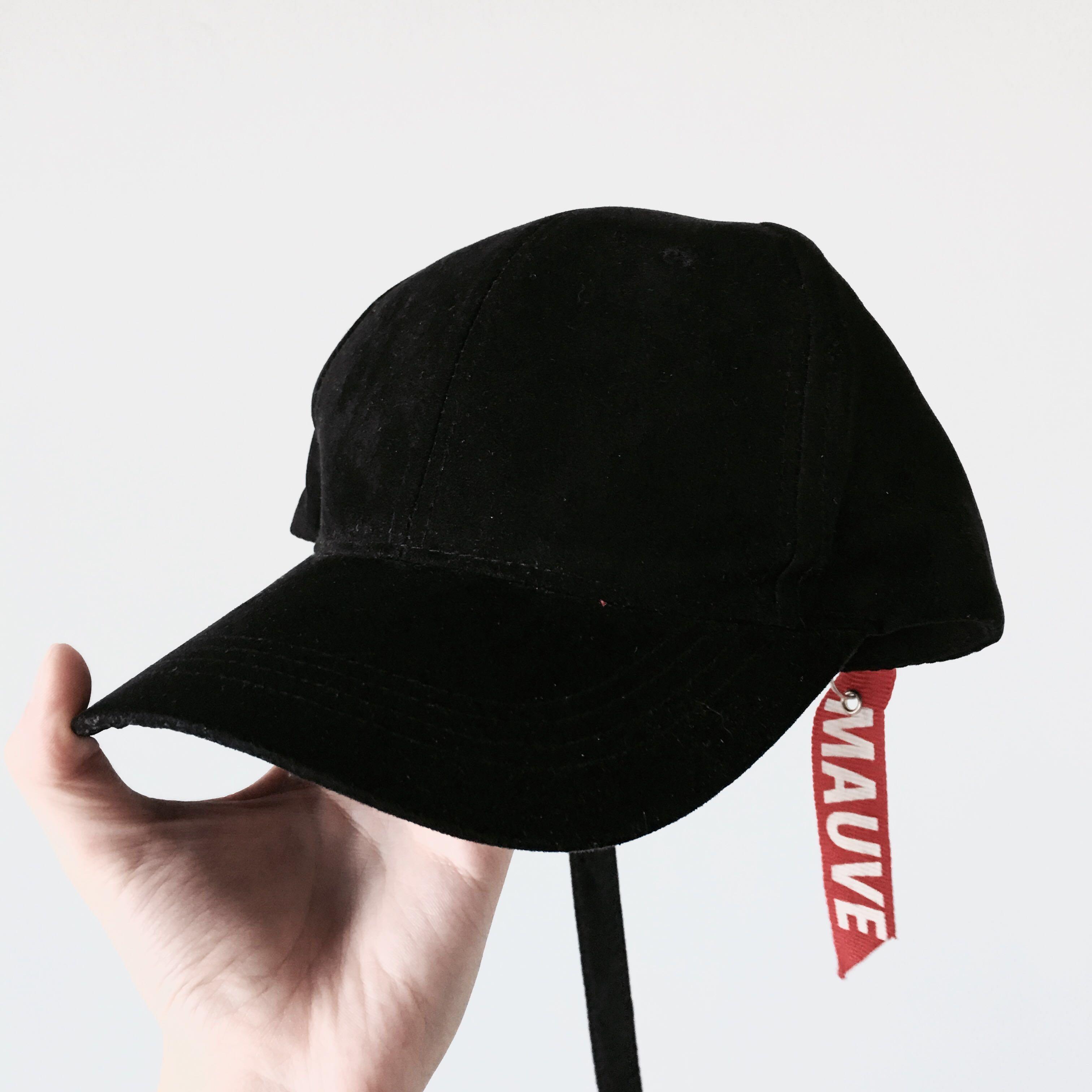 c4a090dbfee Korean Streetwear Mauve Long Strap Black Cap