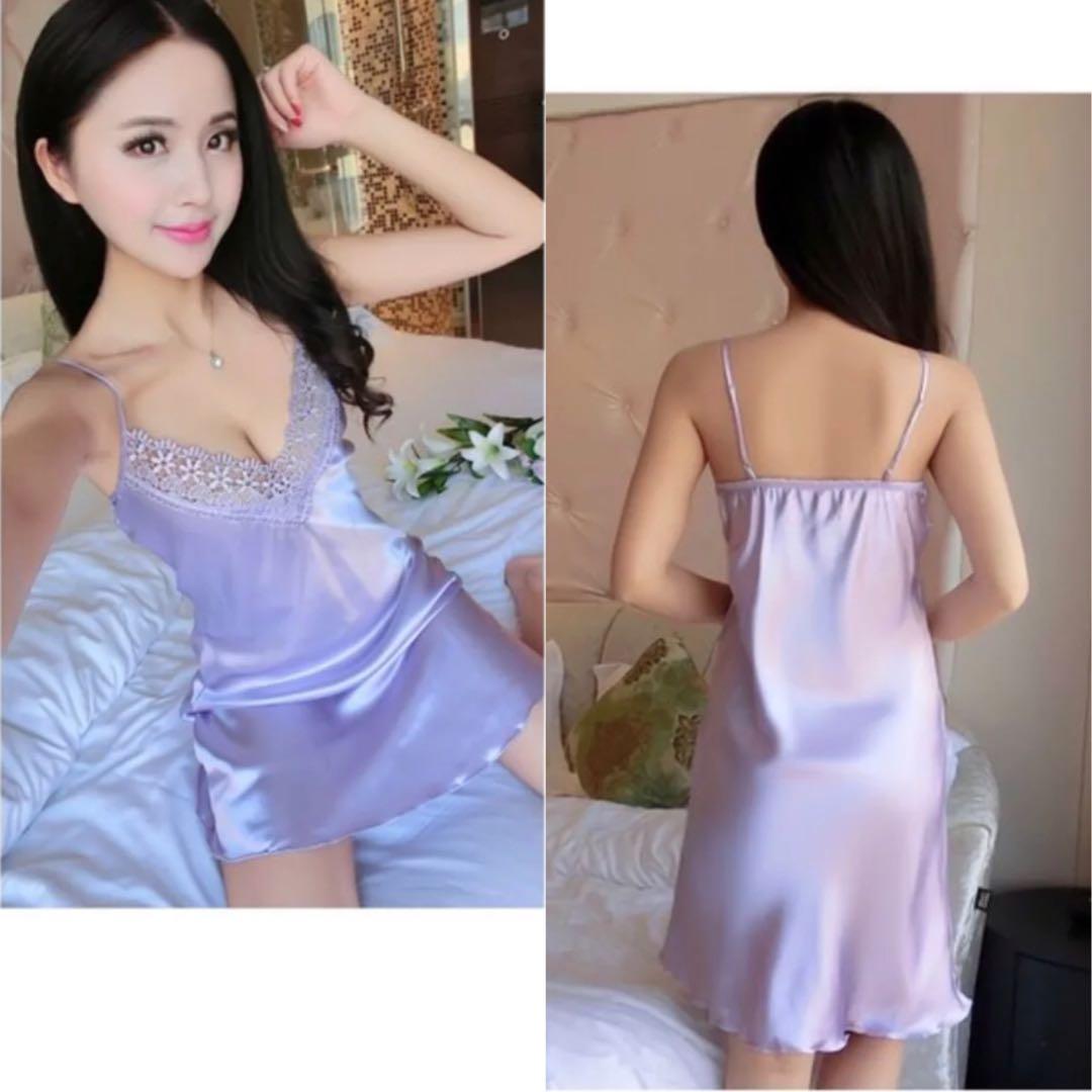 d2ef7a088099 Lingerie Satin Slip Dress Purple Night Gown Sexy Sleepwear