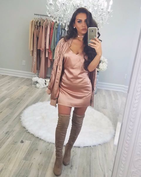 Missguided X Carli Bybel Satin Rose Gold Bomber with Lace up Sleeves, Size 2 (Oversized Fit)