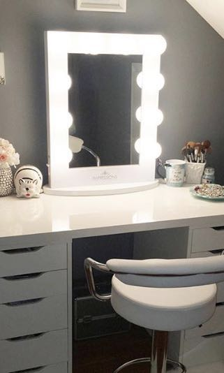 NEW IN BOX - TABLE TOP VANITY MIRROR - WHITE GLOSS