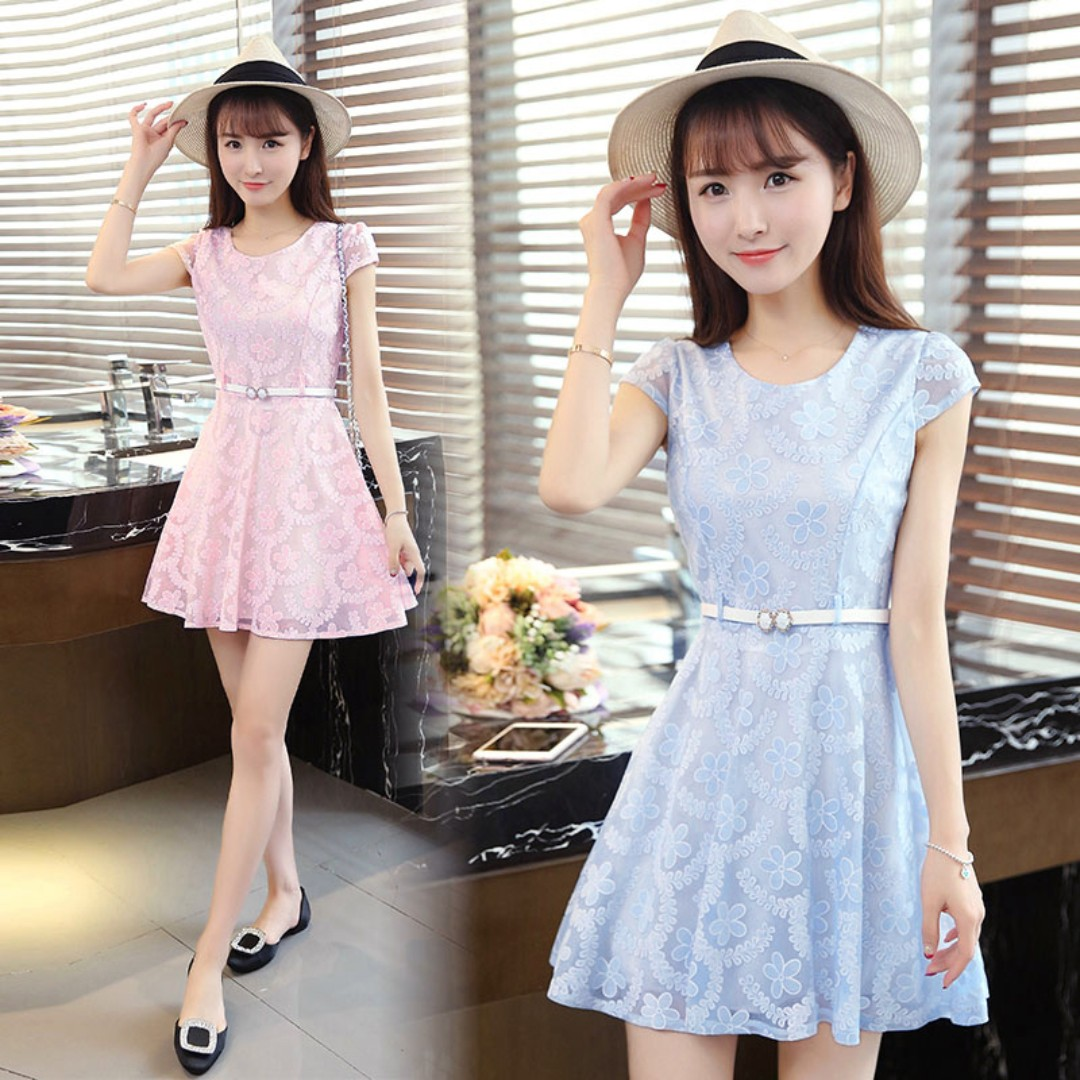 Pastel Coloured Floral Printed Korean Style Belted Skater Dress ... 2ae97da94