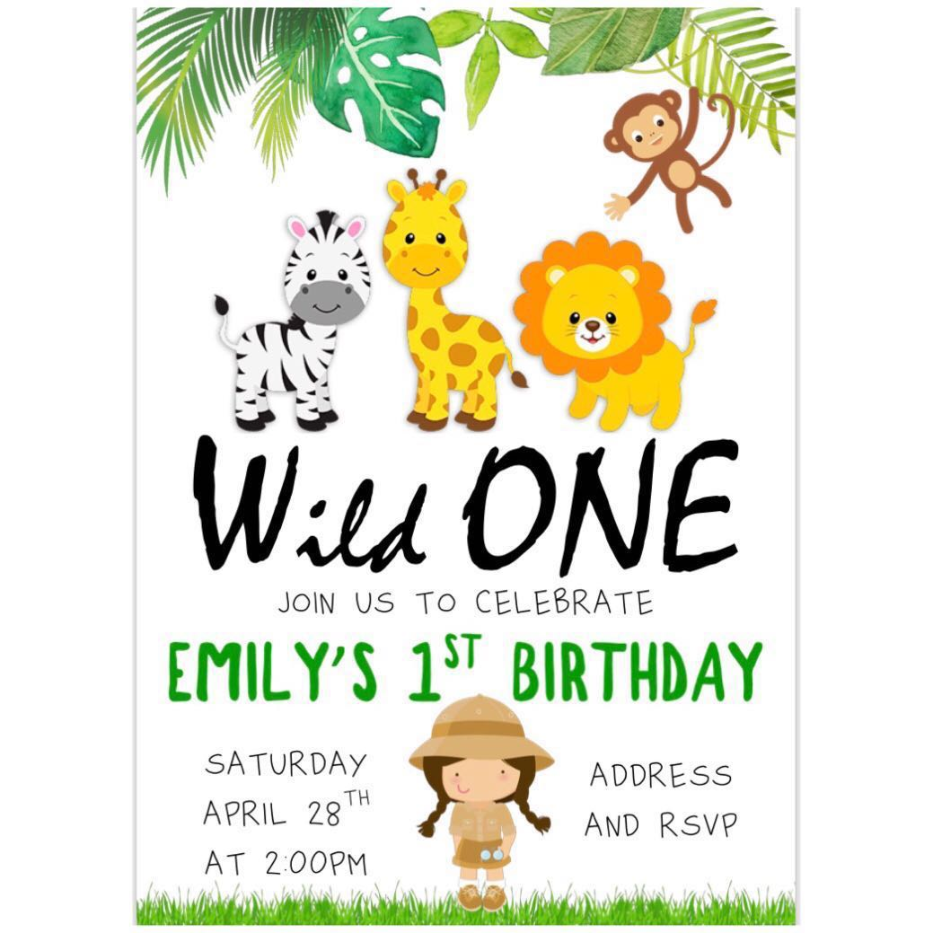 Safari Girl Birthday Invitation eCard, Babies & Kids on Carousell