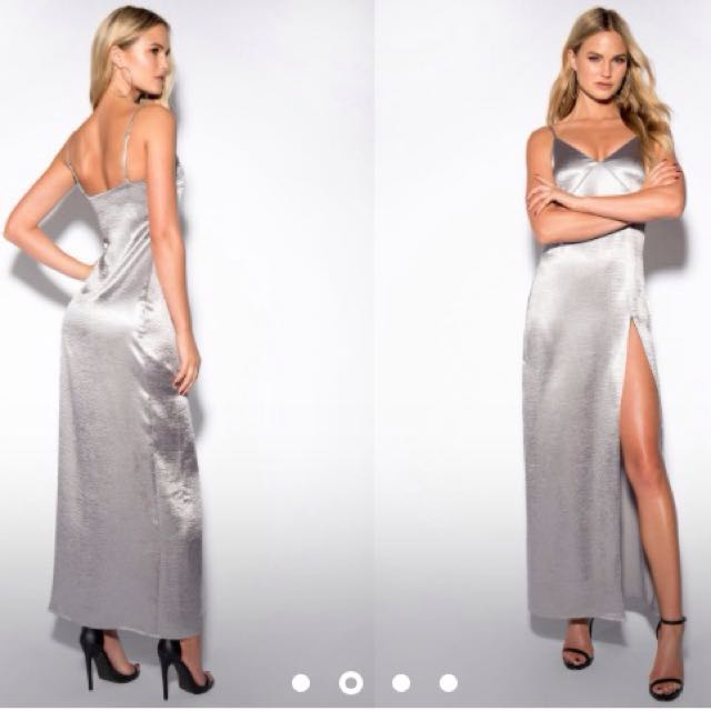 Satin Silver High Slit Long Maxi Evening Ball Dress
