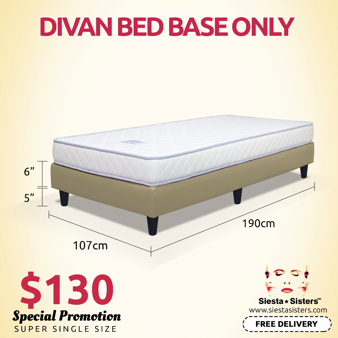 Super Single Divan Bed Base Bed Frame Only Furniture Beds