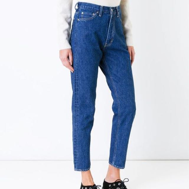 3884197a Zara high waisted rise Mom fit jeans in dark stone blue wash ...