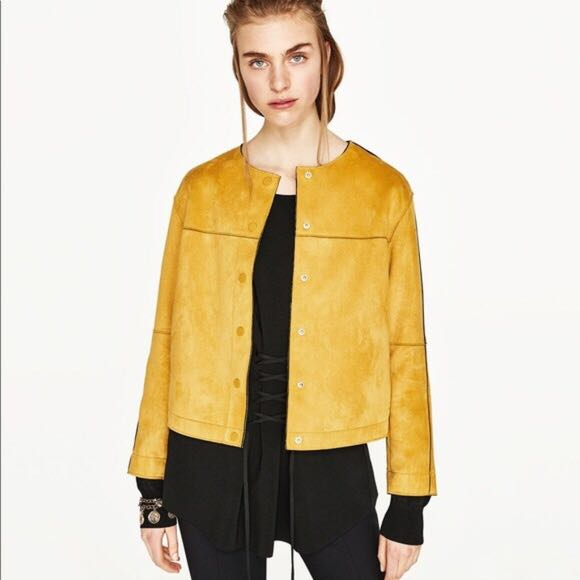 ccb10742 Zara Mustard Faux Suede Jacket, Women's Fashion, Clothes, Outerwear on  Carousell