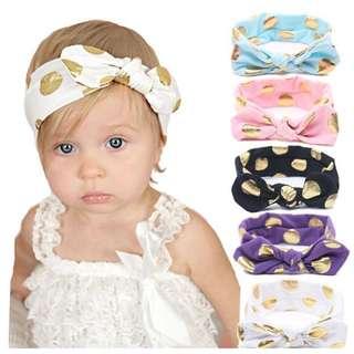 Instock - gold polkadot headband,  baby infant toddler girl children sweet kid happy abcdefgh so pretty