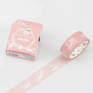 [Ready Stock] Pink White Cat Masking/ Washi Tape