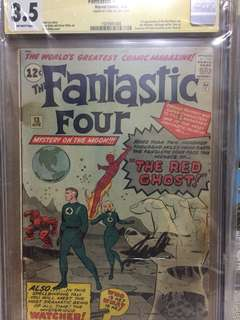 Fantastic Four #12 1st App. Of the Watcher and Red Ghost. Signed by Stan Lee