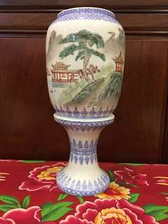 Vintage Chinese Egg Shell Hand Painted Porcelain Lamp