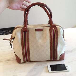 Gucci handbag - white brown & classic vintage red stripes plus designer logo