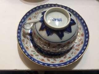 清末民初'China'底款玲瓏加彩咖啡杯套装