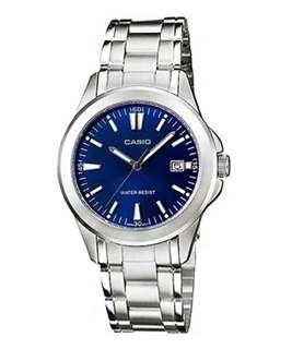 Original casio blue dial watch for women LTP-1215A-2A2DF