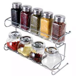 2 Layers Spice Rack With Cylindrical Jars (9PCS Set)
