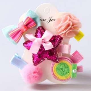 *In Stock* BN Pretty Girls' Assorted Flowers Bow Lollipop Glitter Star Hair Clips Accessories Set