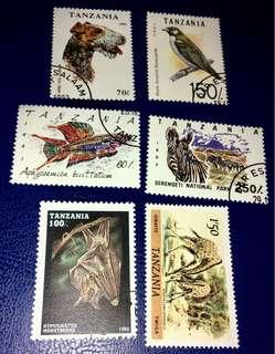 坦桑尼亞已銷動物郵票6枚