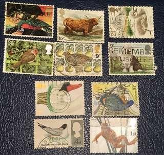 英國已銷動物郵票10枚